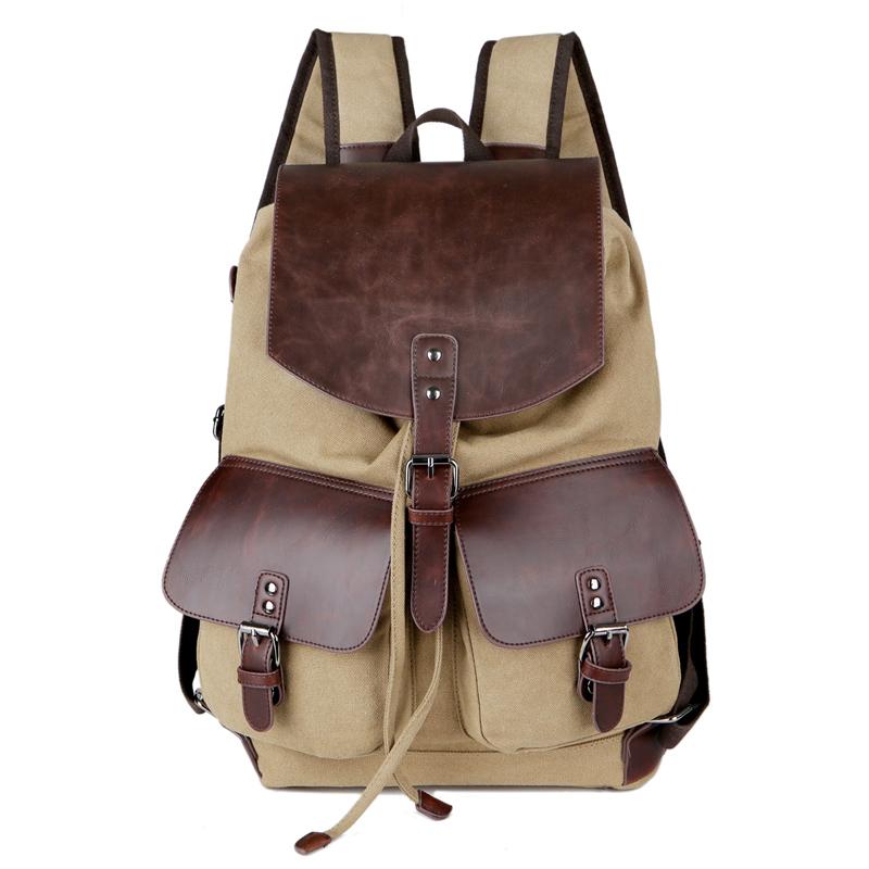 Cloth shake Vintage Men's Backpack Canvas PU Hiking Couples Travel Military Satchel School Bag softback(China (Mainland))