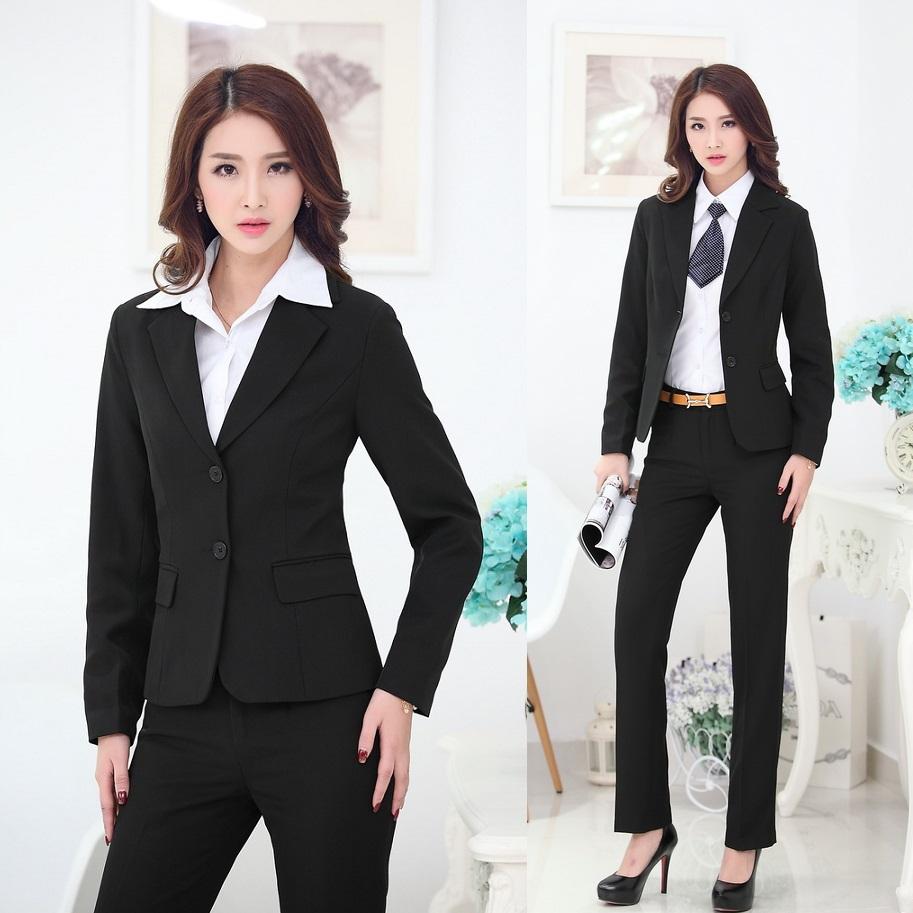 Lastest New 2015 Autumn And Winter Formal Women Pant Suits Work Wear Blazer
