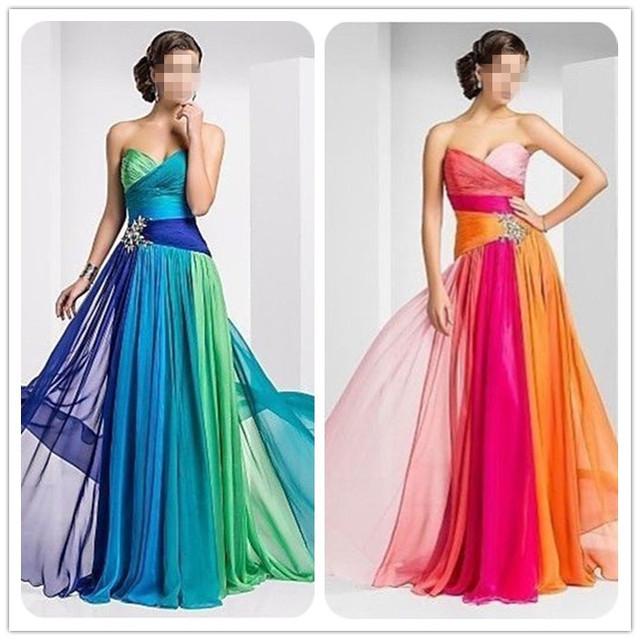 Жилетido де феста Разноцветный длинная официальный платье без бретелек шифон выпускного ...