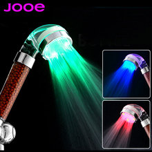 jooe led light shower heads spa Negative ion douche Temperature sensor 3 Colors round abs Showers Filter bathroom accessories(China (Mainland))