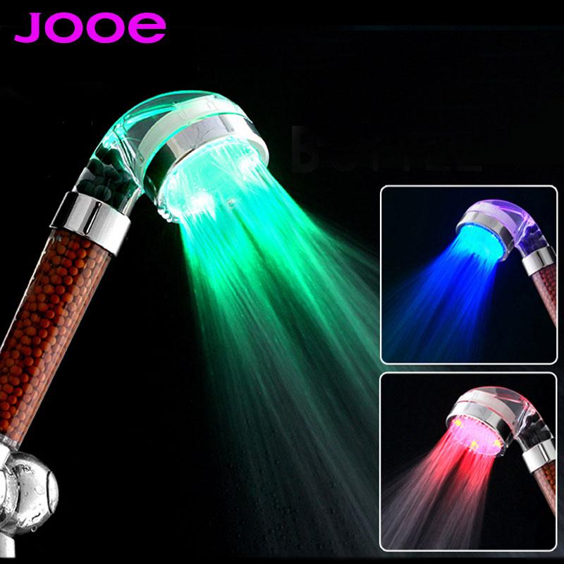 jooe LED shower head Negative ion spa shower head Temperature sensor 3 Colors light abs Showers Filter bathroom accessories(China (Mainland))