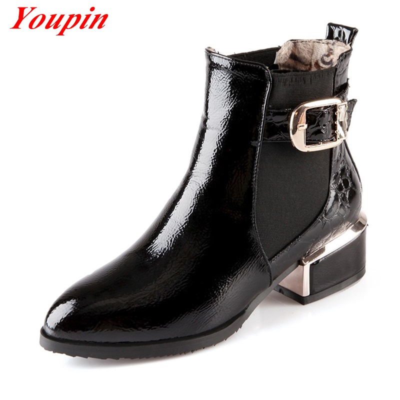 Sequins Patent Leather Ankle Boots Women Shoes 2015 Autumn ...