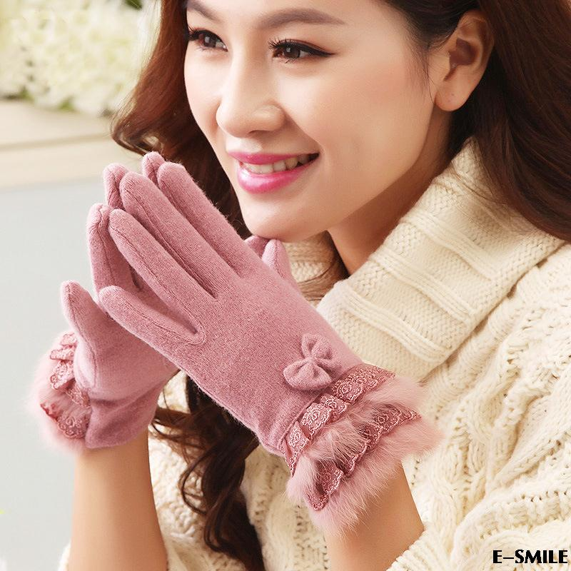 winter woman's gloves Fashion cashmere Lace rabbit hair bow girl driving warm wool mittens - one joy store
