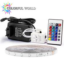 Buy 5M LED strip 3528 60pcs/m 5M Strip LED Light RGB DC12V Flexible 24KEY IR Remote Controller 12V 2A Power Adapter led strip kit for $1.90 in AliExpress store