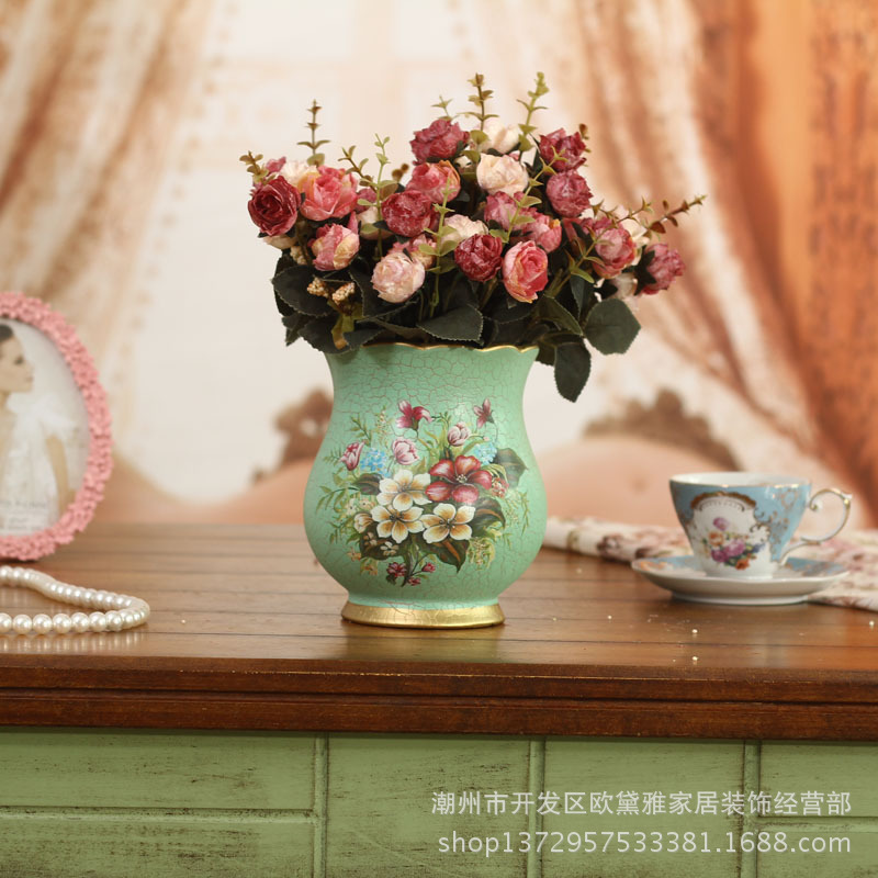 European-style home decoration painted vase Decoration of classic living room table practical and creative pastoral vase(China (Mainland))