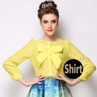 2015 Europe Lady Yellow Big Bow Solid Organza Button Blouse Casual Shirt Top S-X Free Shipping