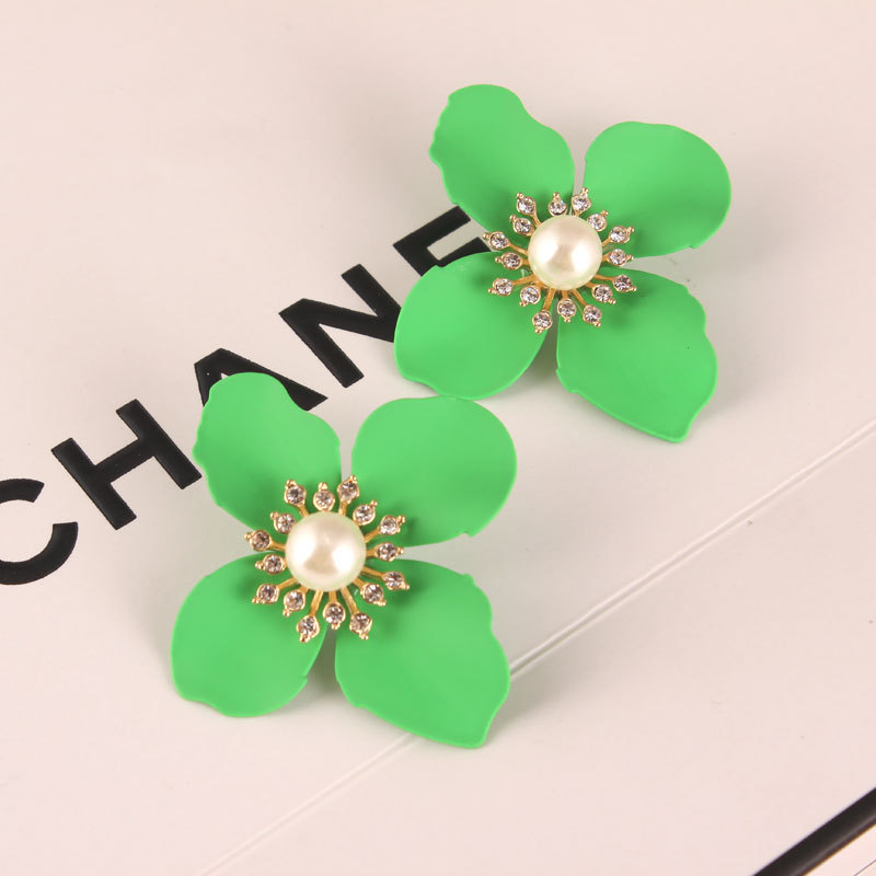 new 5 colors big enamel painted flower stud earrings rhinestone pearl pastel bold statement earrings for women maxi brinco(China (Mainland))