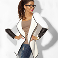 2016 Spring Women Cardigans PU Leather Sleeve Knitted Cardigan Open Stitch Loose Long Sleeve Sweater Outwear