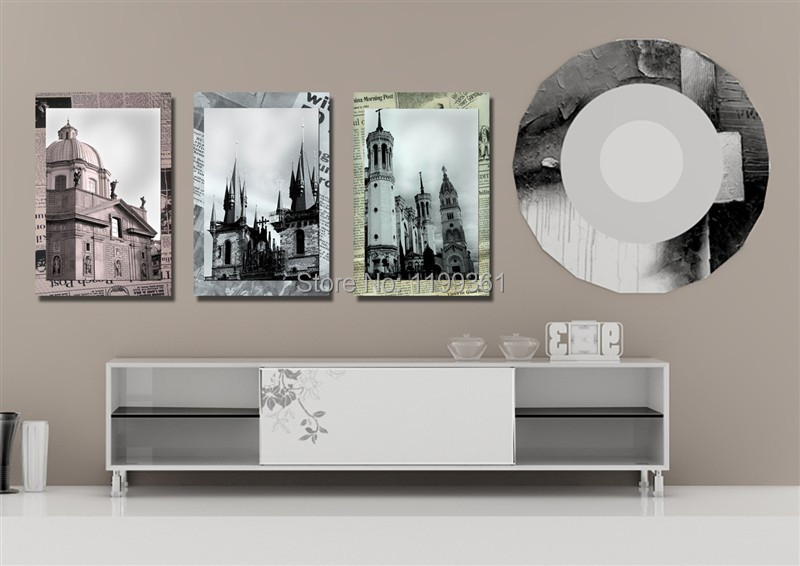 3 Panel Free Shipping Modern Wall Painting World Famous Church Large Living Room Home Decoration Art Picture Canvas Prints(China (Mainland))