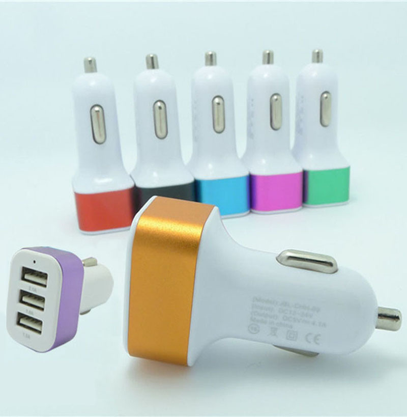 1 pc Hot Triple USB Universal Car Charger Adapter 3 Port 1A 2.1A 1A For iPhone Samsung(China (Mainland))