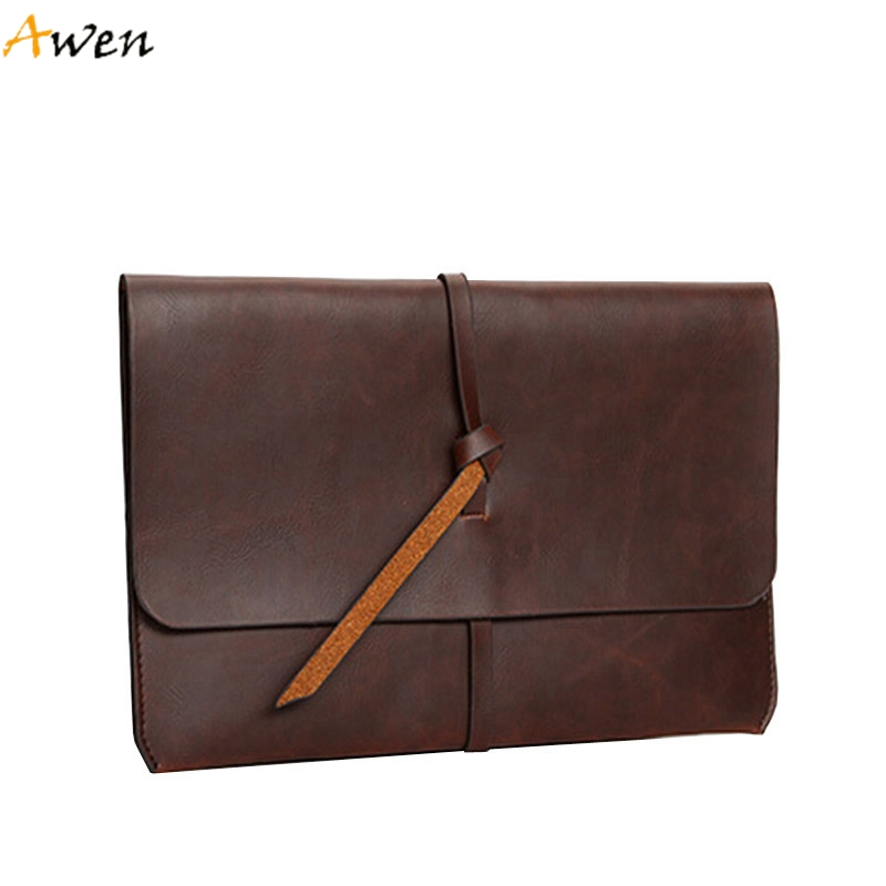 Awen - Retro Ultra-thin Belt Open Men Clutches,Large Size Portable Men Business Folder,Vintage PU Leather Male Envelope Wallets