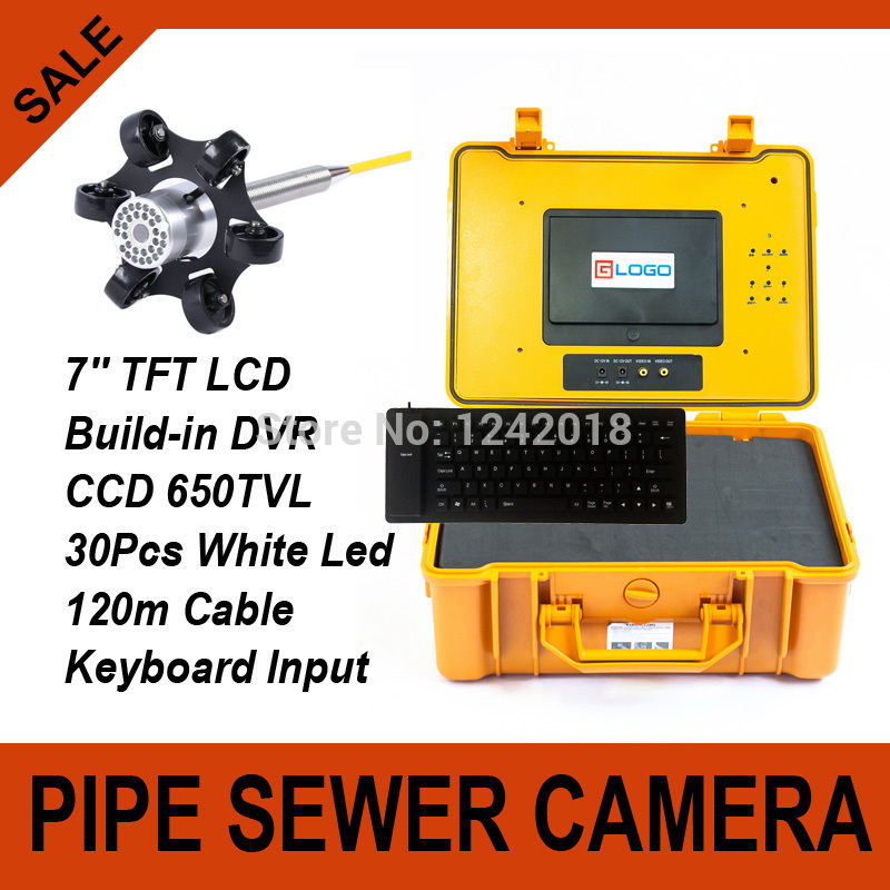 120m Cable Pipe Wall Sewer Inspection Camera Endoscope System Waterproof Sewer Detection Camera With DVR + Keyboard 30Pcs Leds(China (Mainland))