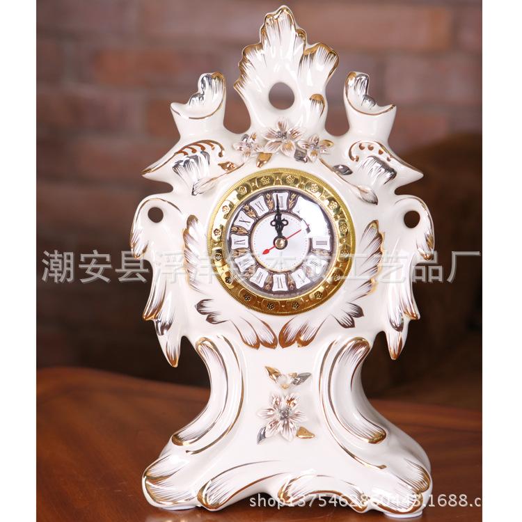 [] European manufacturers selling high-grade ceramic clock room European fashion ivory porcelain clock display(China (Mainland))