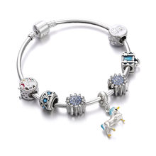 10 style Luxury Crystal Charm Bracelet & Bangle Butterfly horse Beads Silver Retro Bracelets Fit for Women Wedding Femme Jewelry(China)