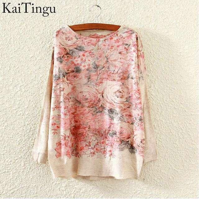 Kaitingu 2015 новинка осень и зима женщин свитер пуловер с длинными Batwing рукавом ...