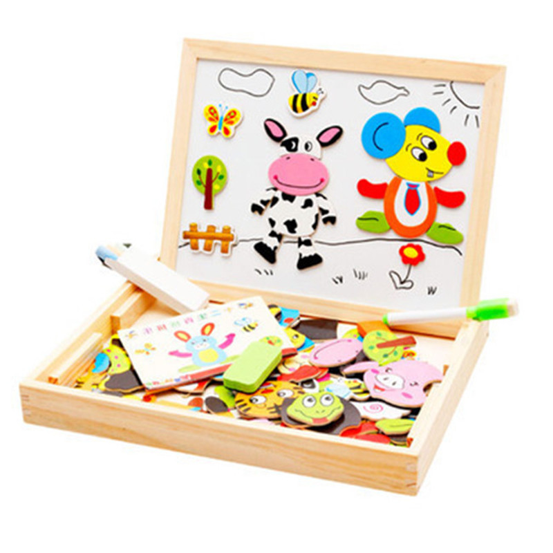 1pcs'' 110 piece Magnetic card Chinese zodiac type Double-sided magnetic drawing board 3D puzzle Children's educational toys(China (Mainland))