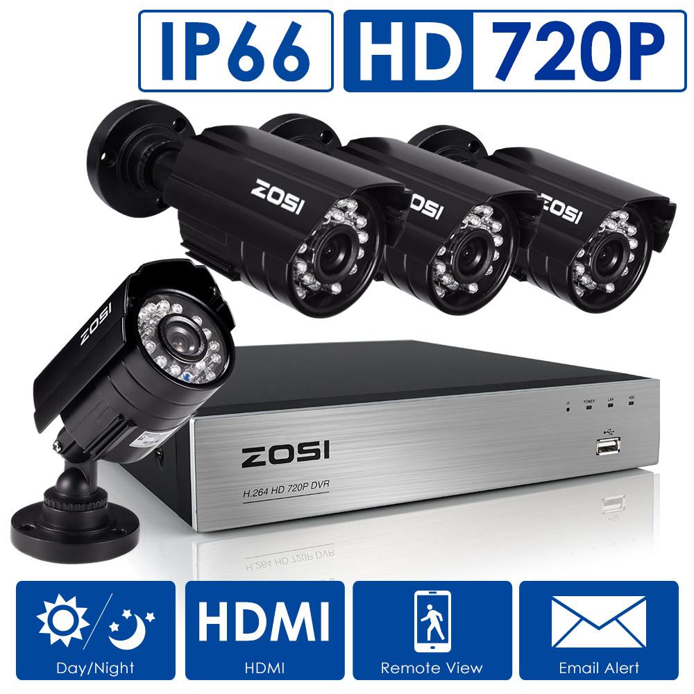 ZOSI 8CH 720P AHD DVR Recording Smart Surveillance System kit 4PCS IP66 1280TVL Security Camera Kit(Full 720P,1080P HDMI Output)