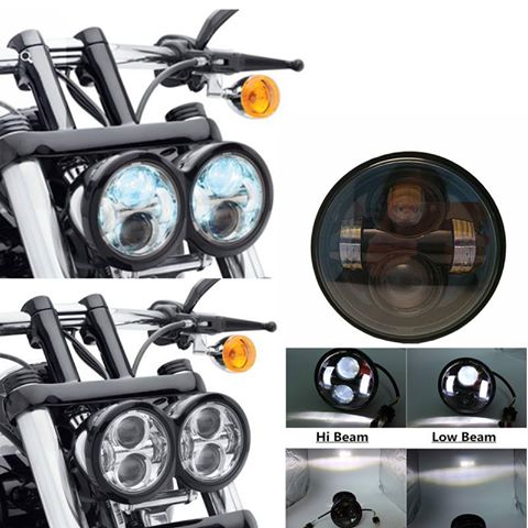 "LED Motorcycle Lights 4.65"" H/2800LM L/2100LM 40W/30W 6000K CREE Chips for Harley Davidson Dyna Glide Fat Bob 2 pcs(China (Mainland))"
