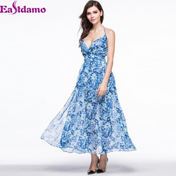 Exclusive Sale Elegant Blue Long Evening Dress Deep V Backless Sexy Vestido De Festa Bandage Print Chiffon Long Dresses Plus XL