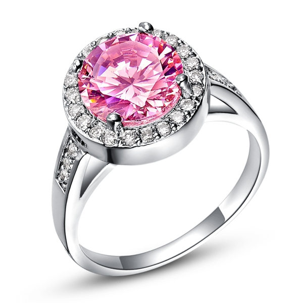 Silver Ring Pink Zircon for Women Wedding Bridal Engagement CZ Simulated Diam