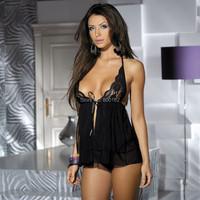 Cheap 1piece  black  sexy lingerie hot sale open baby doll sexy sleepwear women sexy babydoll 2015
