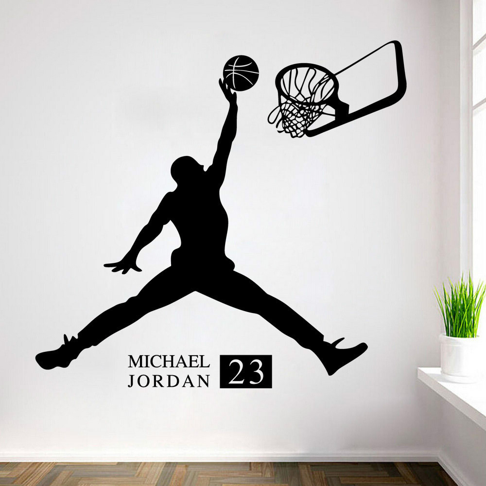 Michael jordan play basketball wall stickers home decors for Sports decals for kids rooms