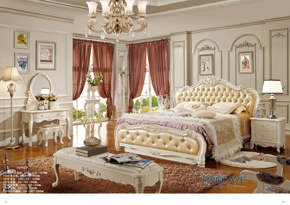royal style king size solid wood hand carved bedroom furniture set