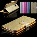Glitter Golden Bling Sand Leather Case For Samsung Galaxy S4 Wallet Stand Card Holder Rhinestone Diamond