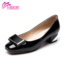 Aokang MeiRie's 2016 New Arrival Vintage Spring Style Brand Women Lady Shoes Platform Low heel Pumps Party Ladies Wedge Shoe