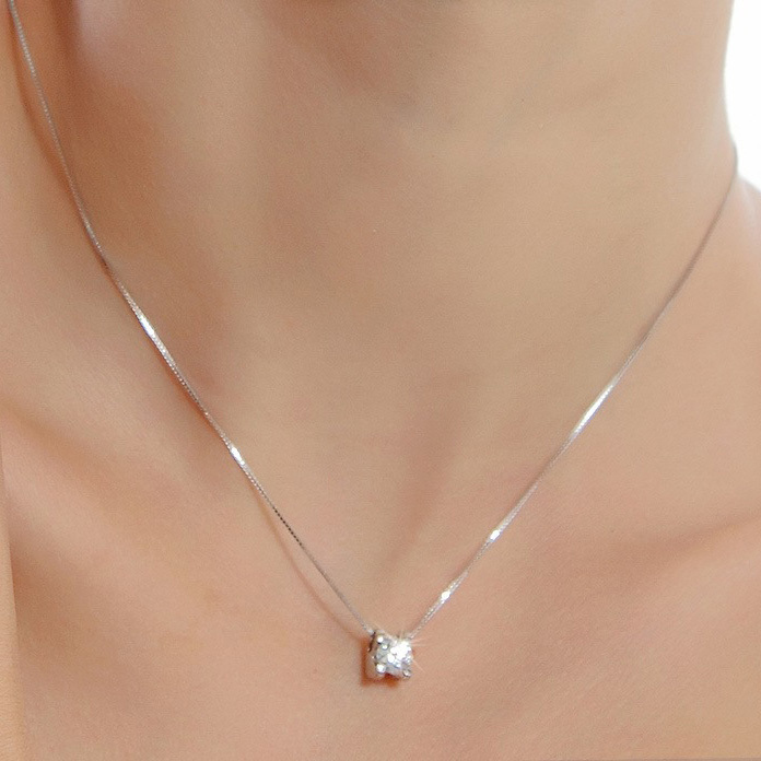 925 Sterling Silver Round Crystal Necklace Pendant Fashion Lady Jewelry Wholesale Necklaces&Pendants DZ826(China (Mainland))