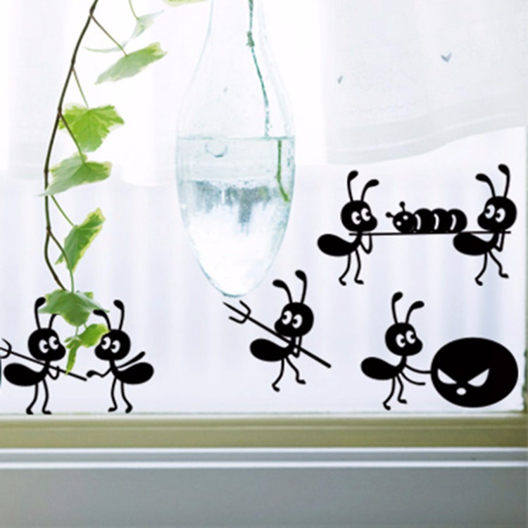 fensteraufkleber ameisen wandtattoo lustig window glassaufkleber sticker tiere ebay. Black Bedroom Furniture Sets. Home Design Ideas
