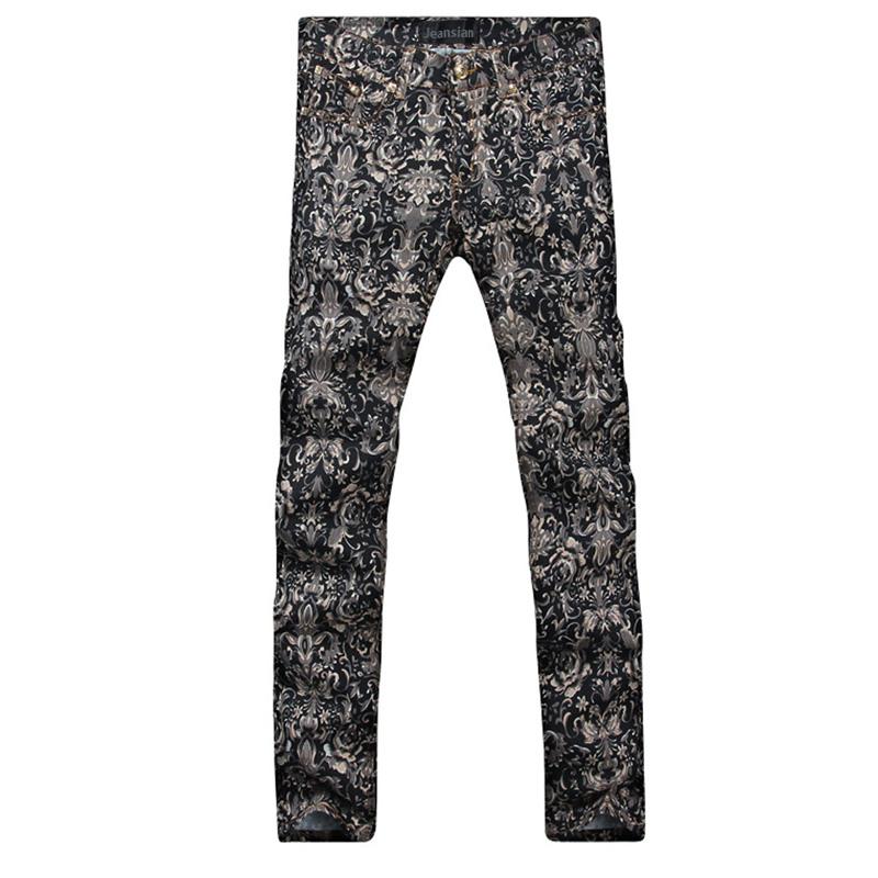2016 new fashion straight leg jeans long men male printed denim pants cool cotton designer good quality brand trousers  MJB021