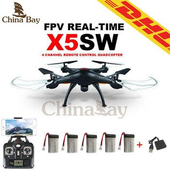 Syma X5sw и X5C WIFI беспилотный FPV Quadcopter с 2-мегапиксельной камерой 2.4 г 6-Axis мини-вертолет игрушки с 5 аккумуляторы и 5 в 1 зарядное устройство