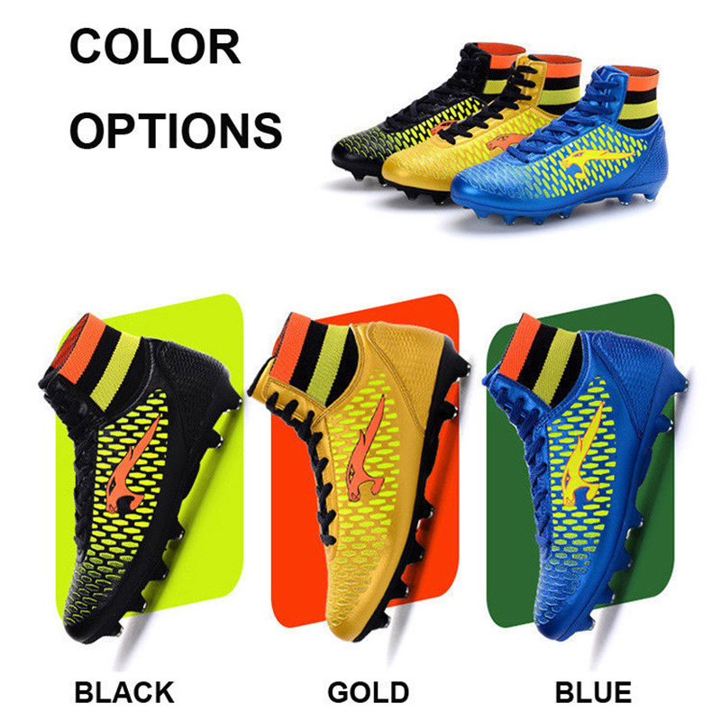 Men Football Boots High Top Kids Children Soccer Shoes Long Spike Cheap Wholesale lights weight Cleats Trainers Size 33-46(China (Mainland))