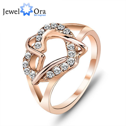 Italina Ring Party Gift For Girl Fashion Rings Rose Yellow Gold Plated Lady Heart Love Ring for Women (JewelOra Ri100841)(China (Mainland))