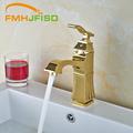 Luxury Design Bathroom Countertop Mixer Faucet with Hot Cold Water Mixer Taps Golden Oil Rubbed Bronze