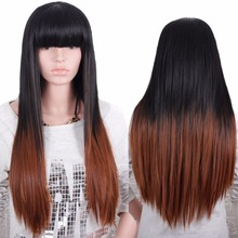Quality Available Ombre Heat Resistant Full Wig Cheap Female Long Elegant Natural Straight Synthetic Natural Wig None Lace Wigs