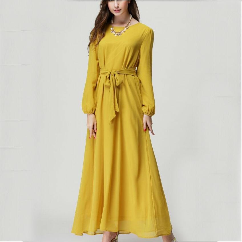 new 2015 spring summer chiffon dress women casual dress long sleeve autumn dresses ladies black blue brown yellow wine red dress(China (Mainland))
