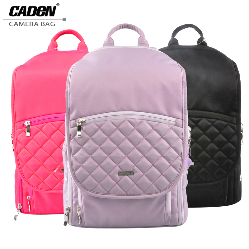 Caden Women Camera Bags Photo Shoulders Backpacks Waterproof Polyester Soft Camera Bag Rose Black Purple Canon Nikon Q5(China (Mainland))
