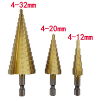 3Pcs/lot Metric Spiral Flute Step HSS Steel 4241 Cone Titanium Coated Drill Bits Tool Set Hole Cutter 4-12/20/32mm(China (Mainland))