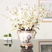 1 Set Buatan Sutra Primula + Keramik Vas Rumah Ruang Tamu Dekorasi Bunga Buatan Etalase Toko Dekorasi Pernikahan(China)