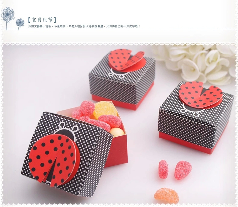 """Free Shipping Baby Shower Favor """"Cute as a Bug"""" 3-D Wing Ladybug Baby Shower favors,Birthday Party Boxes, wedding box(China (Mainland))"""