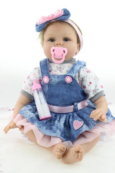 22 Baby-reborn girl doll handmade doll soft silicone vinyl fashion Denim skirt lifelike boneca reborn baby toys for kids<br><br>Aliexpress