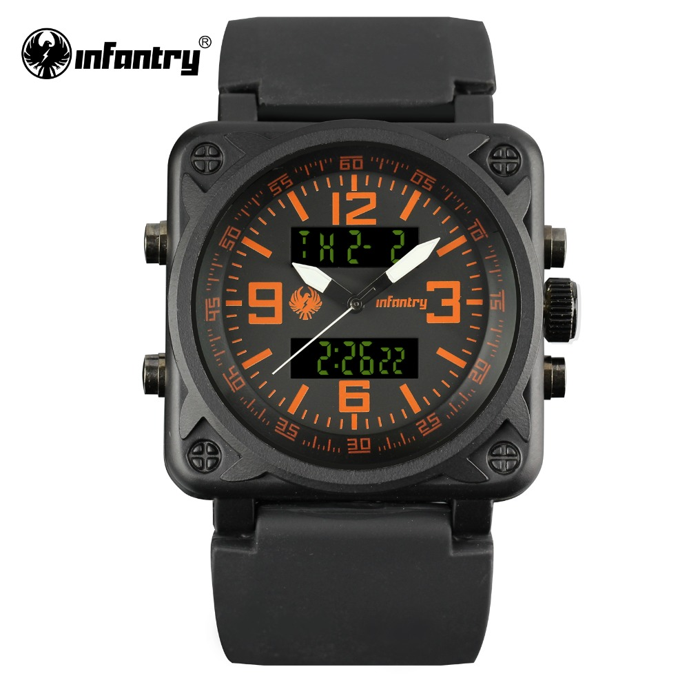 INFANTRY Mens Quartz-Watch Square Face Digital Military Watches Orange Male Clock Fashion Luxury Watch 2017 Relogio Masculino(Hong Kong)
