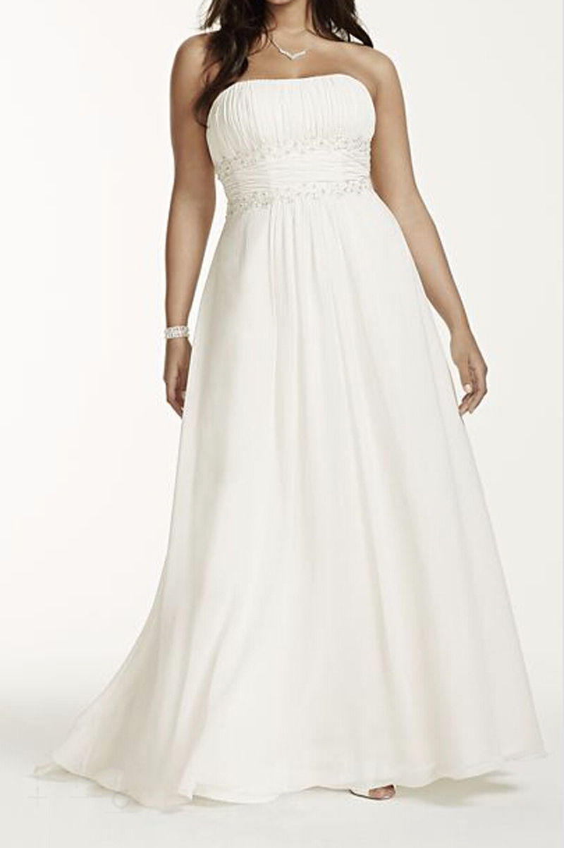 Empire Waist Chiffon Plus Size Wedding Dresses 73