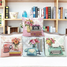 Buy Vintage Decorative Home Cotton Linen Pillow Case Cover Living Room Bed Chair Seat Waist Throw Cushion Rose Flowers Pillowcases for $3.68 in AliExpress store