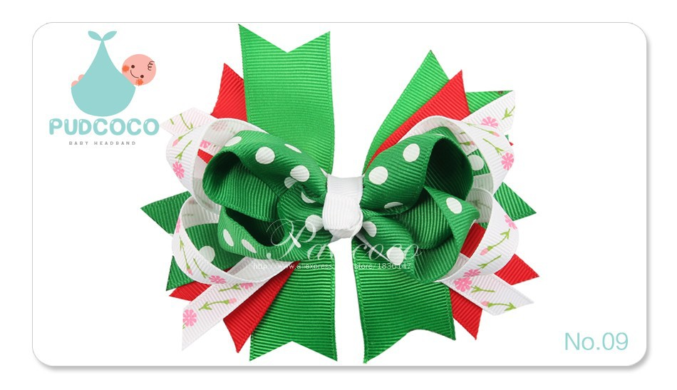 Baby Girls Hair Clips With Printed Layered Polka Dot Ribbon Single Prong Alligator Hair Clips 11 Colors Available H010
