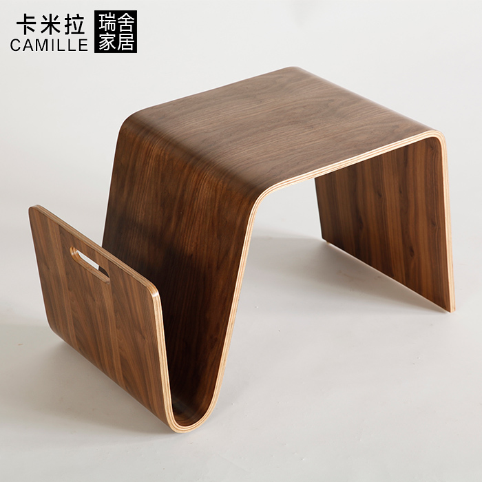 Swiss house home modern minimalist smart About Coffee small wooden coffee table curved stick leather production(China (Mainland))