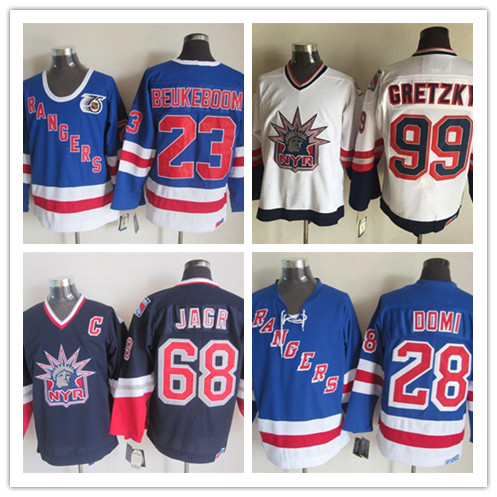 Throwback Hockey 23 Jeff Beukeboom 28 Tie Domi 68 Jaromir Jagr 99 wayne gretzky Jersey(China (Mainland))