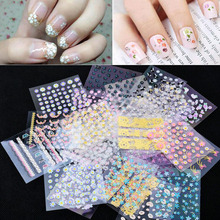 New Fashion 10 sheets Mix color 3D Floral Design Nail Art Stickers Decals decoration beautiful manicure fashion accessories NA8(China (Mainland))